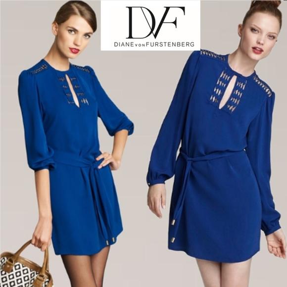 Diane von Furstenberg Dresses & Skirts - Diane Von Furstenberg Silk Florina Dress Blue sz 0